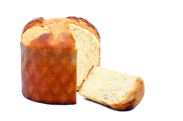 Panettone is een traditioneel kerstvoedsel, zoet brood met fruit of chocolade