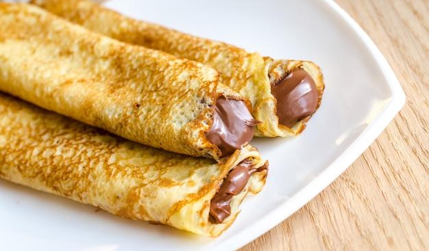 Pannenkoeken met chocoladeroom