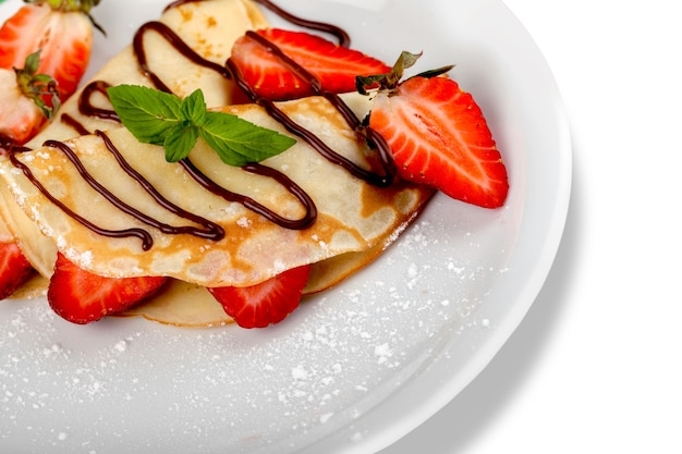 Pannenkoeken met kwark en aardbeien