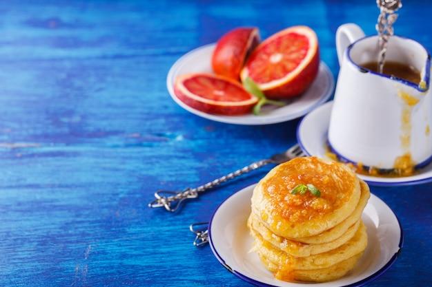 Pannenkoeken met sinaasappeljam