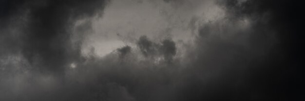 Panorama dramatische onweerswolken in schemerhemel, regenachtig en bewolkt weer. natuurlijke meteorologische achtergrond