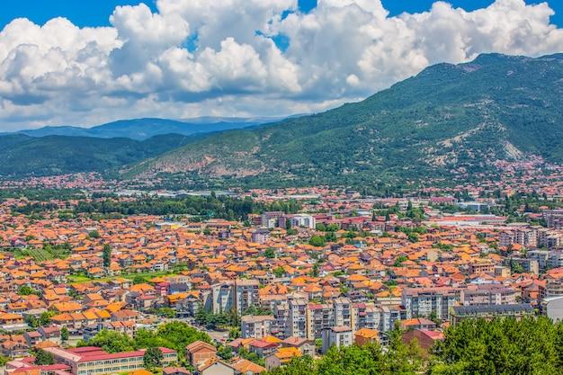 Panorama ohrid oude stad macedonië, balkan. selectieve focus