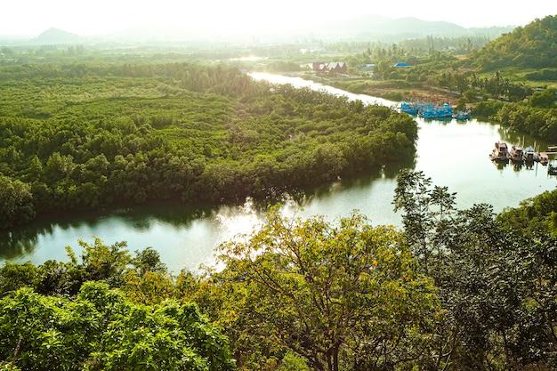 Panorama tropische regenwoud rivier in zuidoost-azië