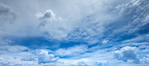 Panorama van blauwe hemel met witte wolken bij helder weer op een zonnige dag
