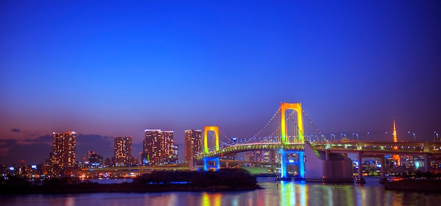 Panorama van de regenboogbrug in tokio.