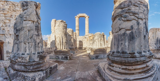 Panorama van de tempel van apollo in de oude stad didim. kalkoen
