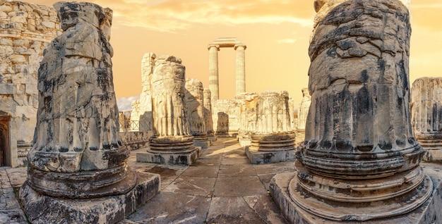 Panorama van de tempel van apollo in de oude stad didim onder de gele lucht. kalkoen