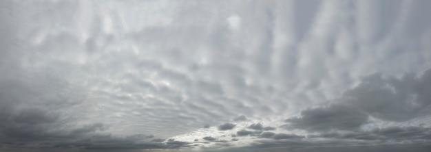Panorama van grijze dramatische hemel met golvende dikke wolken.
