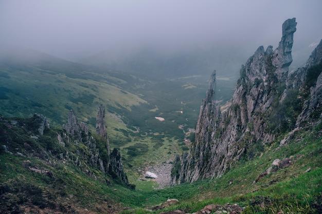 Panorama van mystieke bergrots in mist