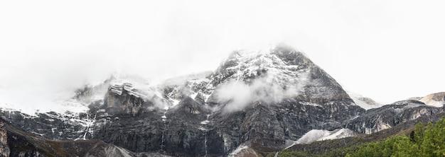 Panorama van sneeuwberg in de nationale reserve van yading, daocheng-provincie, de provincie van sichuan, china.