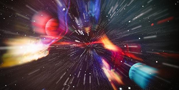 Panorama view warp space, abstract van warp of hyperspace beweging in blue star trail.