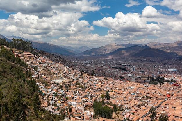 Panoramamening historisch centrum cusco peru andesgebergte