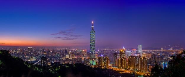 Panoramamening van de stadswolkenkrabbers van taipeh in zonsondergang van olifant of xiangshan-berg.
