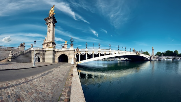Panoramisch gestemd beeld van alexander bridge in parijs