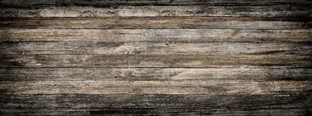 Panoramisch grijze grunge achtergrond van oude houten planken met vignet