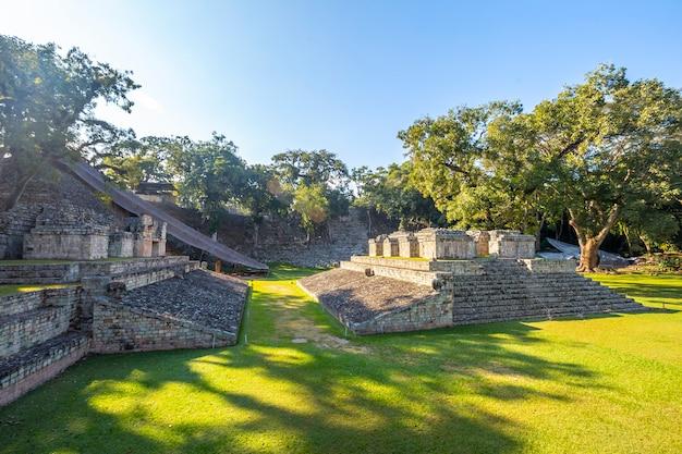 Panoramisch in dawn in het veld van het balspel in de tempels van copan ruinas. honduras