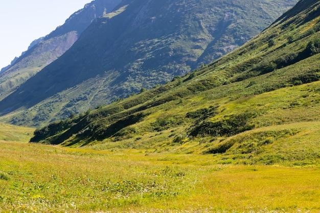 Panoramisch uitzicht op de bergen, prachtig landschap op een zonnige dag met groen gras in de weilanden