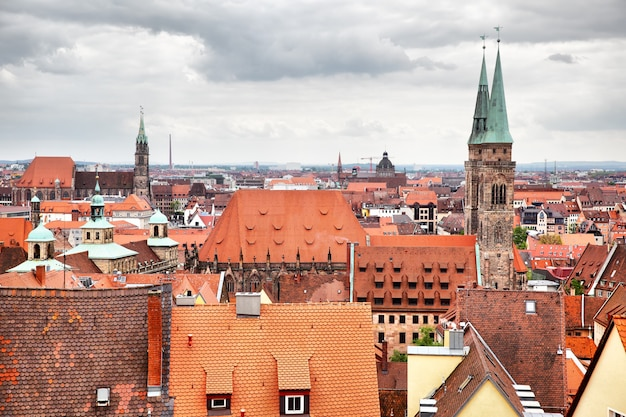 Panoramisch uitzicht op de oude stad in neurenberg, duitsland