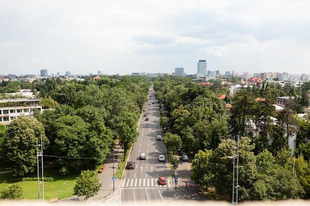 Panoramisch uitzicht op drukke boulevard van grootstedelijke stad tijdens zomerdagen