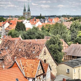 Panoramisch uitzicht op quedlinburg in duitsland