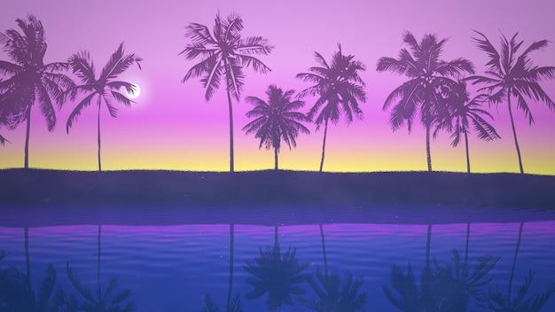 Panoramisch uitzicht op tropisch landschap met palmbomen en zonsondergang, zomer achtergrond. elegante en luxe 3d-illustratie in retrostijl uit de jaren 80, 90