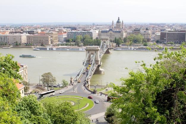 Panoramisch uitzicht over de stad en de rivier