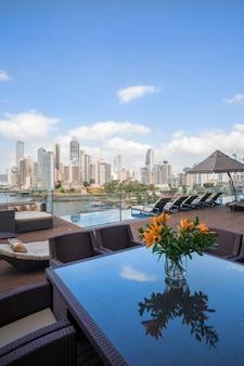 Panoramisch uitzicht vanaf het terras en de wolkenkrabbers