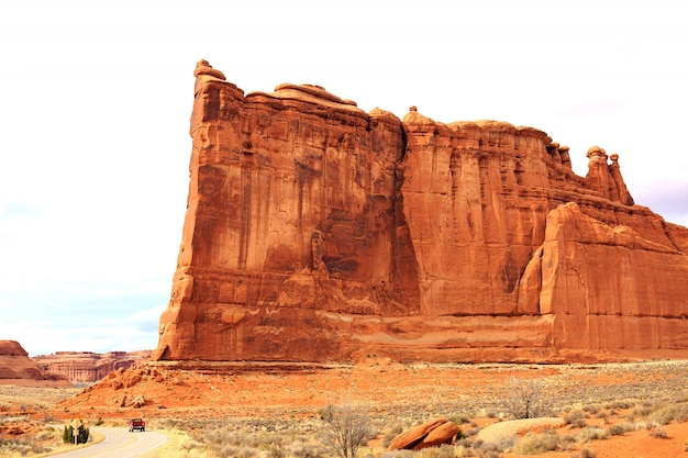 Panoramisch zicht op arches national park. moab, utah,