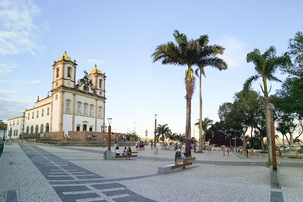 Panoramisch zicht op de beroemde bonfim-kerk in salvador bahia brazilië.
