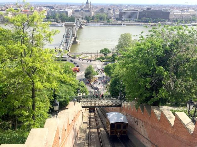 Panoramisch zicht op de kabelbaan en de stad