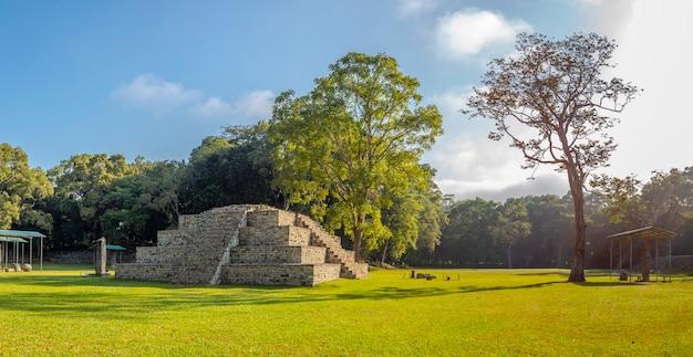 Panoramisch zicht op de maya-piramides in de tempels van copan ruinas en hun natuurlijke omgeving
