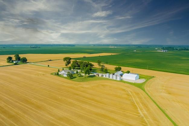 Panoramisch zicht op de opslaglift voor zilveren silo's op agroverwerking, droogreiniging van landbouwproducten rond het veld