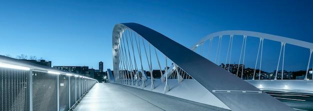 Panoramisch zicht op de schuman-brug 's nachts, lyon.