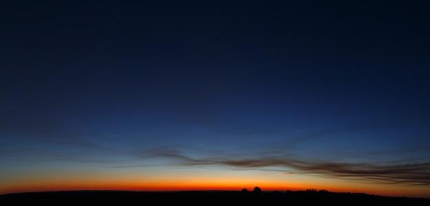 Panoramisch zicht op de wolkenloze hemel tijdens zonsondergang.