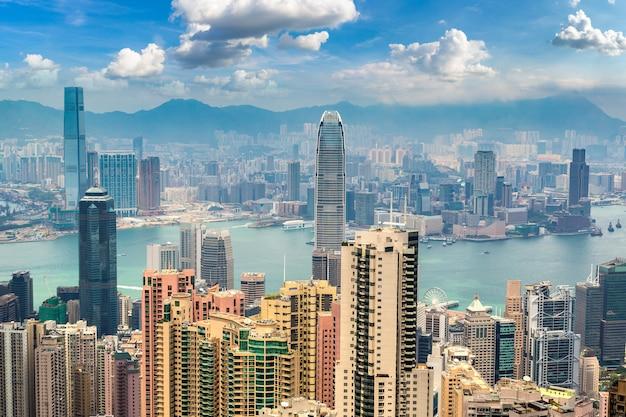 Panoramisch zicht op de zakenwijk van hong kong