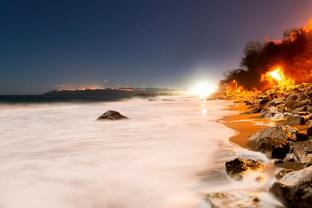 Panoramisch zicht op de zonsondergang