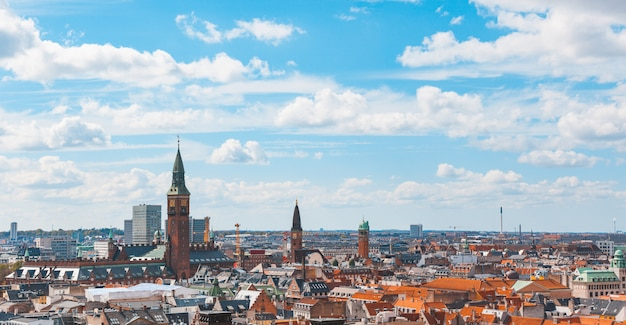 Panoramische en luchtmening van de stad kopenhagen
