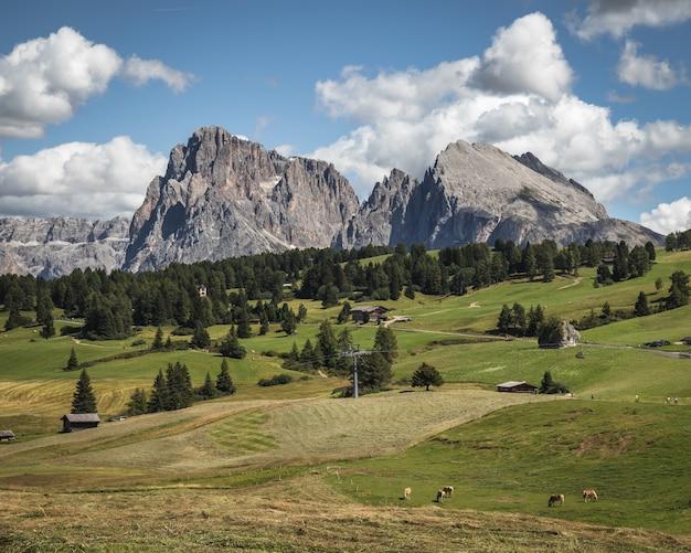 Panoramische opname van de berg plattkofel in compatsch italië
