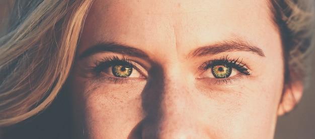 Panoramische opname van het mooie vrouwtjesgezicht met groene ogen die naar kijken