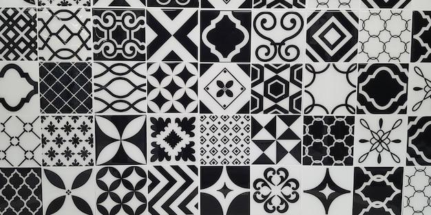Panoramische vintage tegels keramische verf vloer patroon geschilderd tin achtergrond