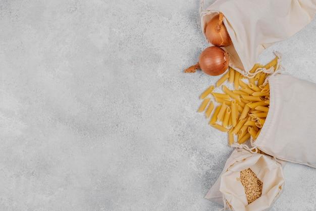 Pantry voedselingrediënten kopiëren ruimte bovenaanzicht
