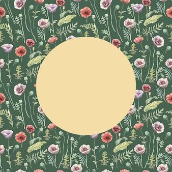 Papavers bloemen rood paarse wilde bloemen hand getekende aquarel illustratie. schets print textiel achtergrond patroon naadloze framerand instellen. natuur planten bladeren decoratie