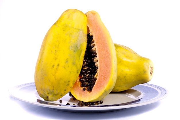 Papaya fruit gesneden