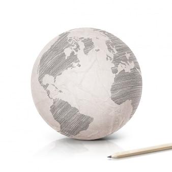 Paper earth wereldbol