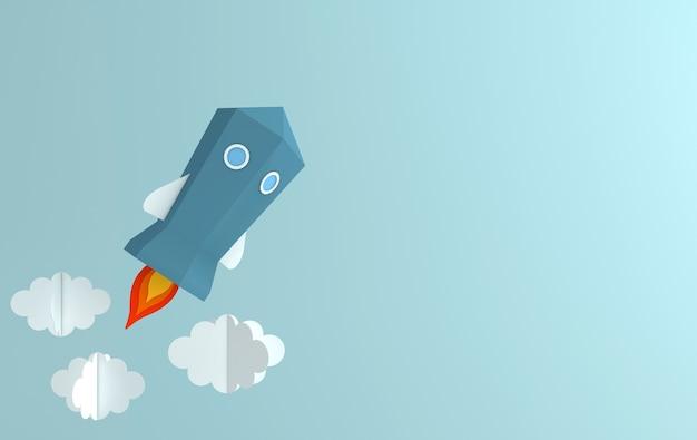 Paper space shuttle lancering naar de hemel