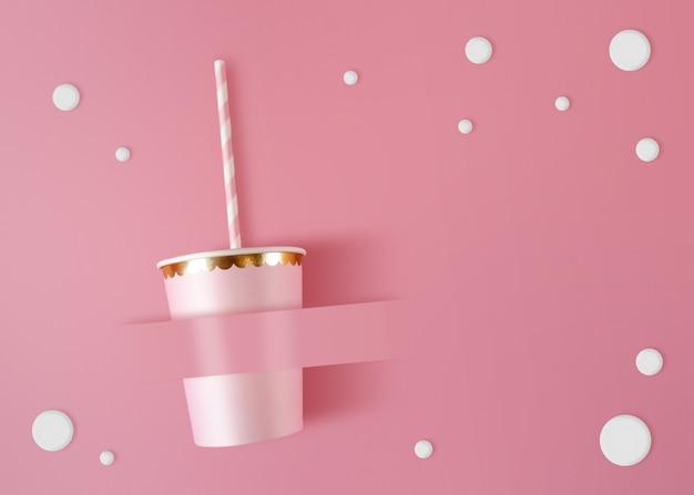 Papier beker met rietjes op roze viering achtergrond.