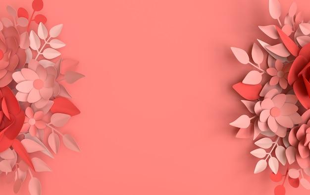 Papier elegante witte bloemen en bladeren, bloemen origami achtergrond