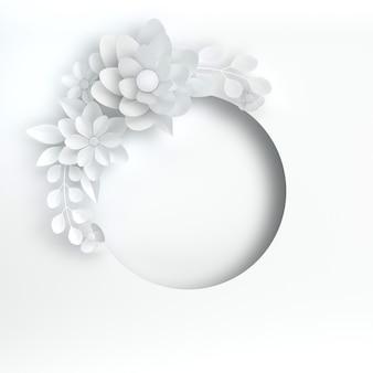 Papier elegante witte bloemen en bladeren op een witte achtergrond