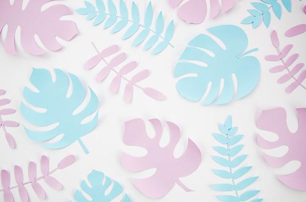 Papier gesneden stijl van bladeren bovenaanzicht