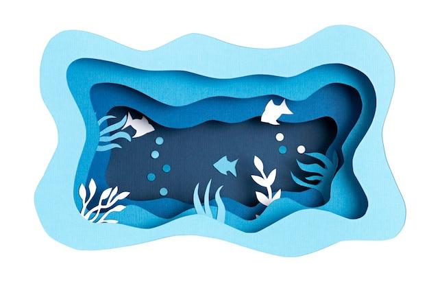 Papier gesneden voor wereld oceaan dag diep onderwaterzee. blauw zeeleven. red de oceanen papercut met vis en zeewier op blauwe zeewatermuur. milieuzorg en natuurbescherming.